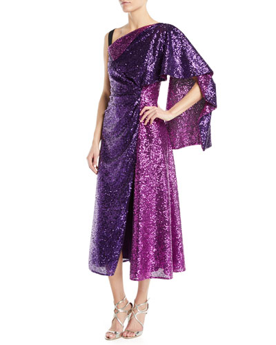 Nima Draped Sequin-Embroidered Cocktail Dress