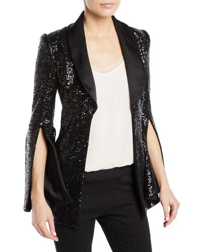 Bell-Sleeve Hook-Front Sequined Jacket