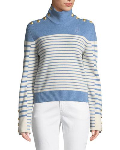 Turtleneck Striped Merino Wool Sweater w/ Golden Button Detail