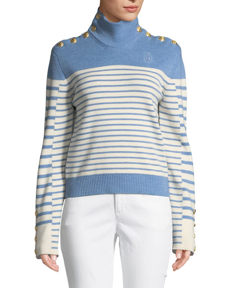Turtleneck Striped Merino Wool Sweater W/ Golden Button Detail, Blue Pattern