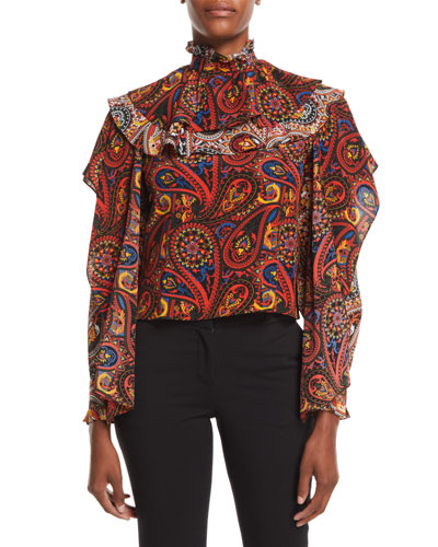High-Neck Long-Sleeve Paisley-Print Silk Top