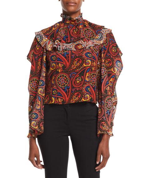 High-Neck Long-Sleeve Paisley-Print Silk Top