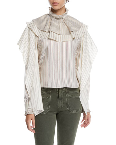 Ruffle High-Neck Draped-Sleeve Striped Silk Top