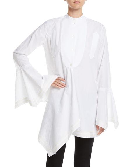 Mandarin-Collar Bell-Sleeve Button-Front Cotton Shirt w/ Striped Border Trim