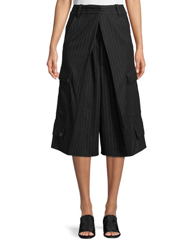Pinstripe Wool Flannel Pleated Culotte Pants