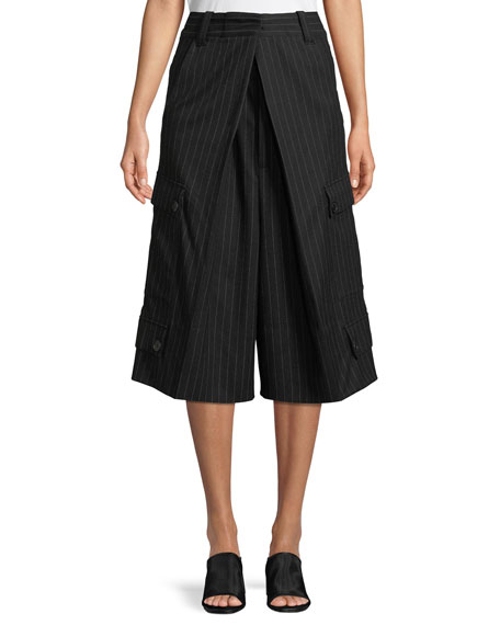 J.W.ANDERSON Pinstriped Virgin Wool Culottes - Black, Cream Size 10 Uk