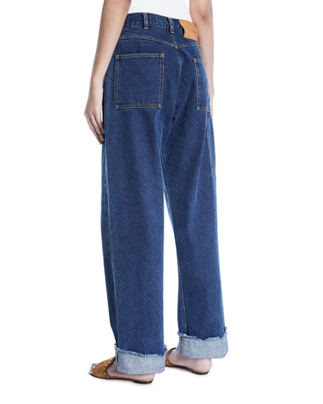 Toggle-Waist Wide-Leg Cuffed Jeans