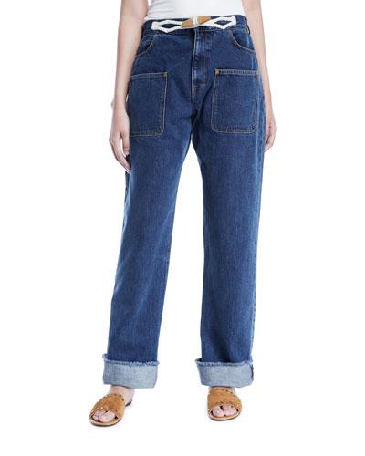 Toggle-Waist Wide-Leg Cuffed Jeans