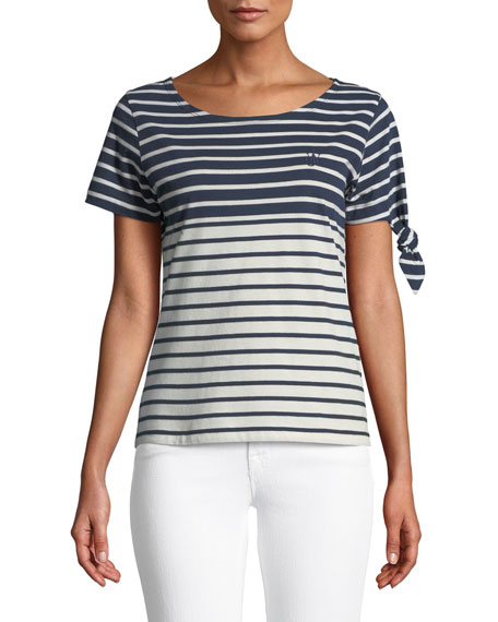 Breton Crewneck Short-Sleeve Striped Cotton Tee in Blue