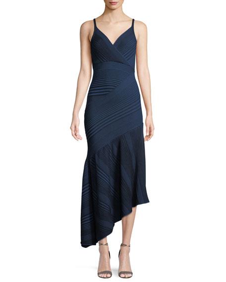 V-Neck Sleeveless Asymmetric-Rib Knit Dress