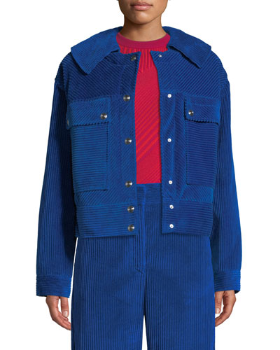 Snap-Front Oversized Velvet Corduroy Jacket