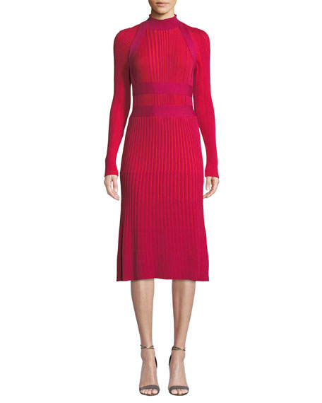Cedric Charlier Mock-Neck Long-Sleeve Ribbed Wool A-Line Dress