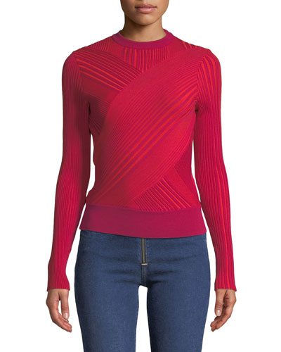 Crewneck Asymmetric-Striped Wool Sweater