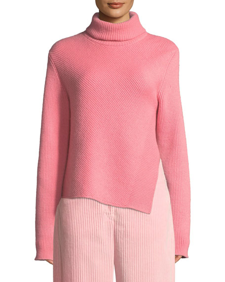 Cedric Charlier Turtleneck Long-Sleeve Wool-Cashmere Sweater w/