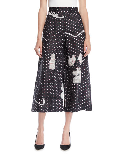Dot-Print Wide-Leg Linen Culotte Pants
