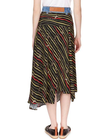 Striped Asymmetric Wrap Midi Skirt with Denim