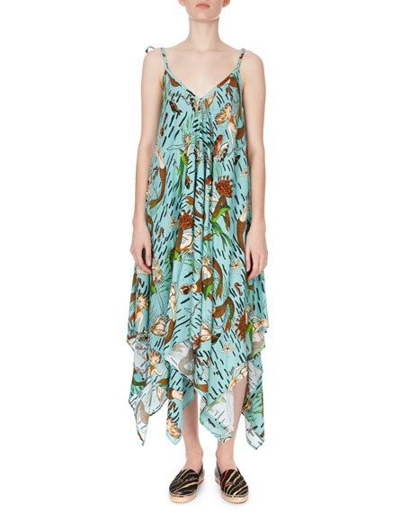 V-Neck Sleeveless Mermaid-Print Asymmetric Midi Dress