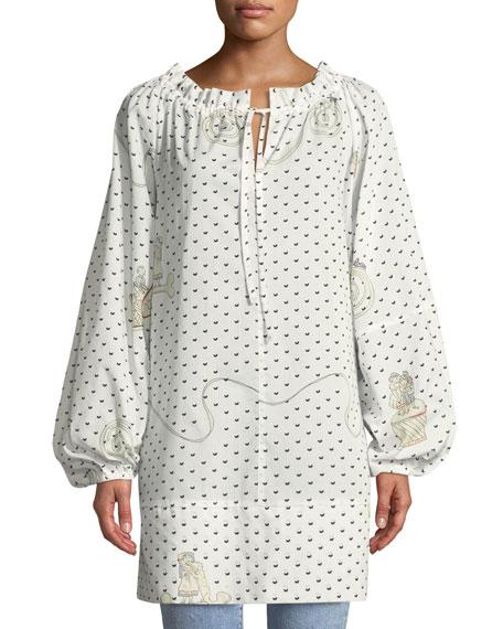 Loewe Long Sleeve Printed Cotton Peasant Blouse