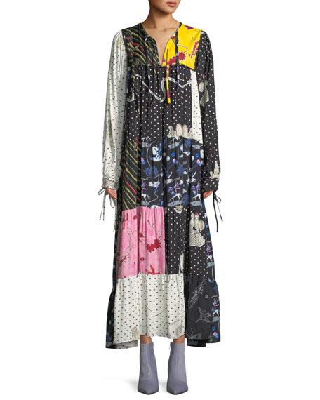 Long-Sleeve Patchwork Long Boho Peasant Dress