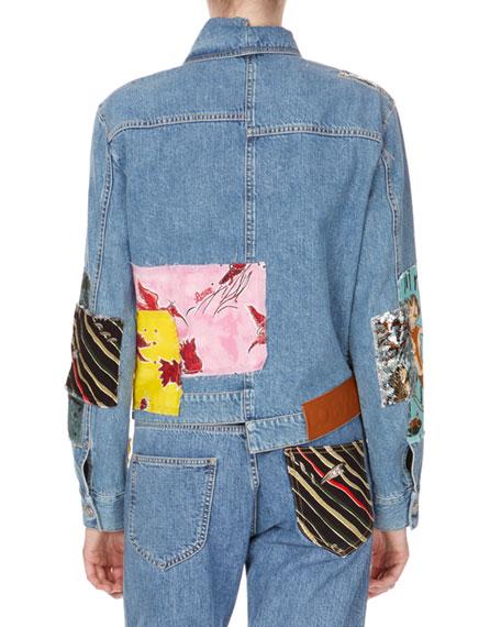 Patchwork Button-Down Denim Jacket