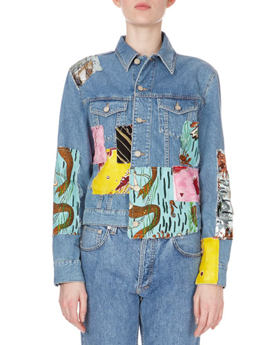 Patchwork Button-Down Denim Jacket