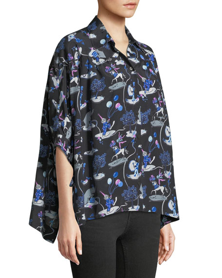 Long-Sleeve Button-Down Printed Blouse