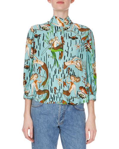3/4-Sleeve Mock-Neck Button-Down Mermaid-Print Blouse