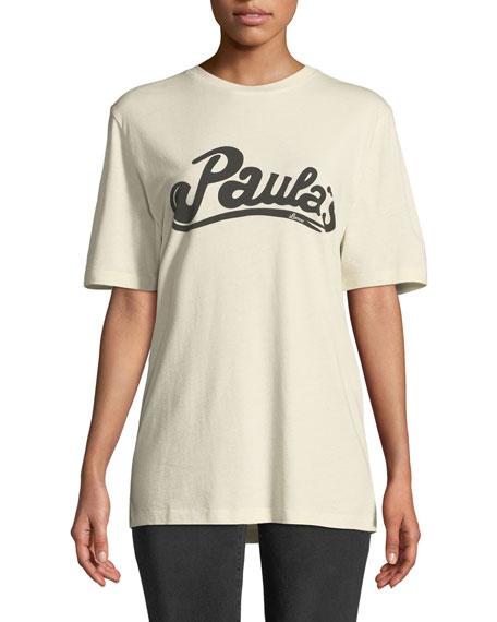 x Paula's Ibiza Logo Crewneck Short-Sleeve Cotton-Silk Tee