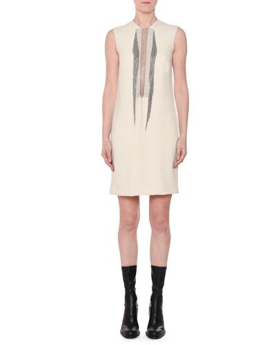 Sleeveless Shift Dress w/ Multi-Chain Inset