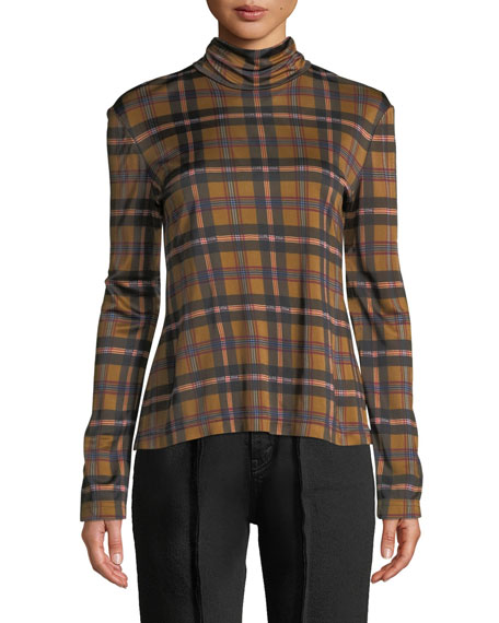 Rokh TURTLENECK LONG-SLEEVE PLAID-CHECK TOP