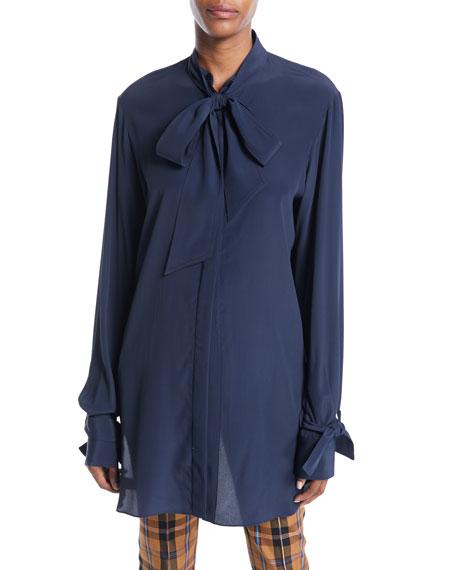 Open-Back Tie-Neck Long-Sleeve Silk-Blend Tunic Blouse
