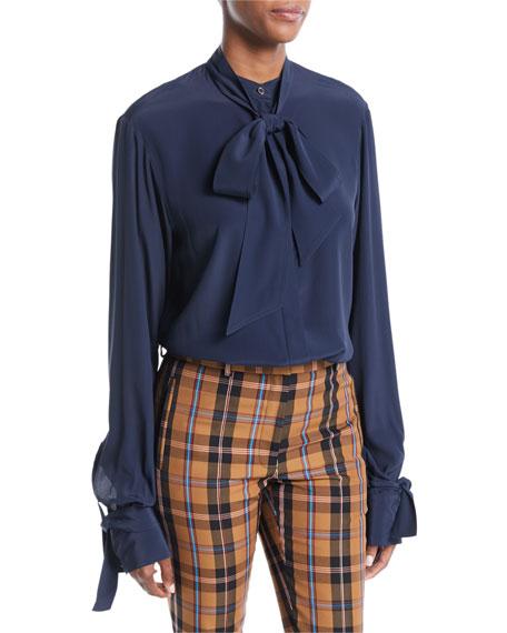 ROKH Open-Back Tie-Neck Long-Sleeve Silk-Blend Tunic Blouse in Blue