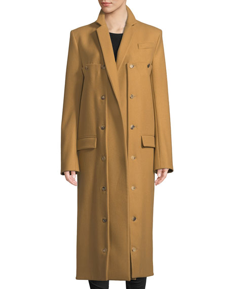 Rokh Double-Button Front Long-Sleeve Long Wool Coat