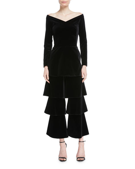 OSMAN LONDON Off-The-Shoulder Long-Sleeve Ruffled-Leg Velvet Jumpsuit in Black