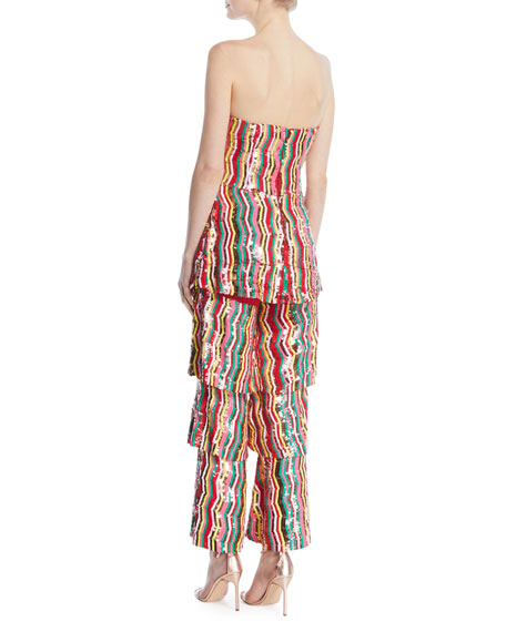 Strapless Multi-Chevron Sequin Ruffle-Leg Jumpsuit
