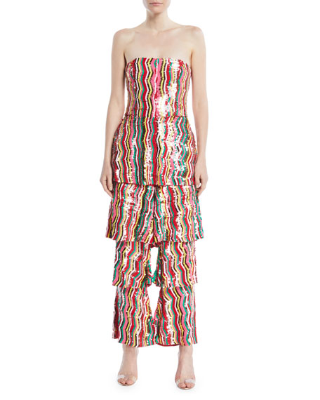 OSMAN LONDON STRAPLESS MULTI-CHEVRON SEQUIN RUFFLE-LEG JUMPSUIT