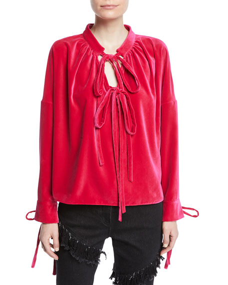 OSMAN LONDON Tie-Neck Long-Sleeve Velvet Top in Fuchsia