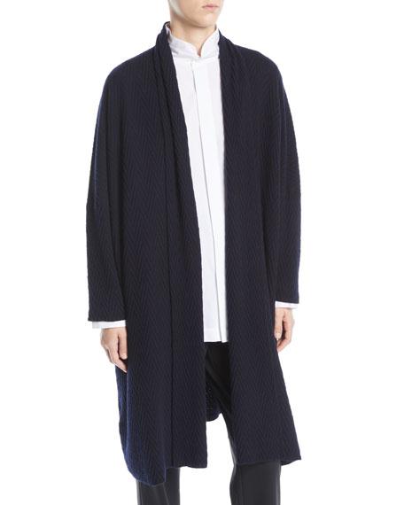 Eskandar Open-Front Long-Sleeve Herringbone Cashmere Cardigan