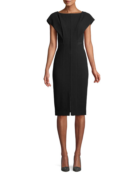 ATELIER CAITO FOR HERVE PIERRE Boat-Neck Cap-Sleeve Wool Sheath Dress in Black