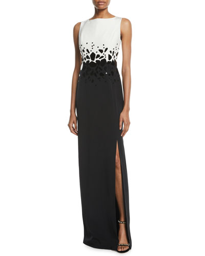 Sleeveless Embroidered Silk Crepe Column Evening Gown