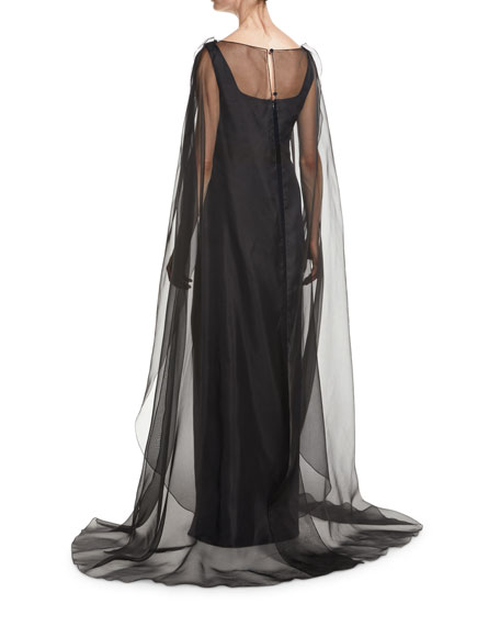 Square-Neck Sleeveless Column Evening Gown w/ Organza Cape