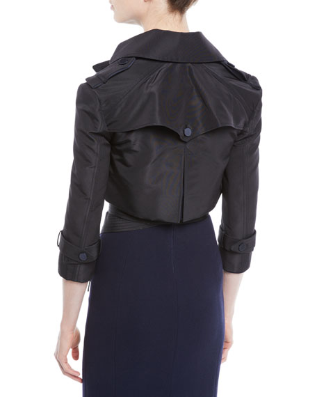 Silk Faille & Satin Duchess Cropped Moto Jacket