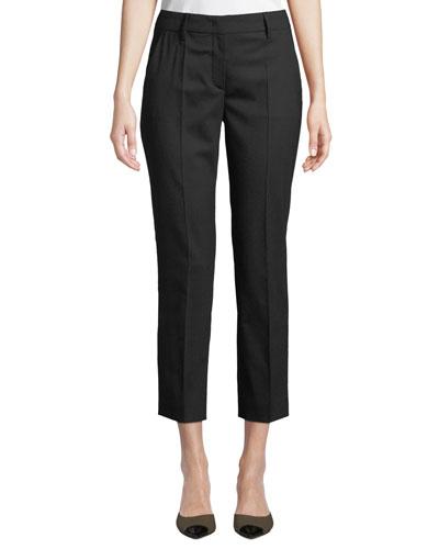 Straight-Leg Cropped Stretch-Wool Pants