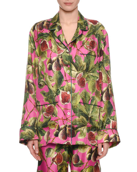 eb269cfa Dolce & Gabbana Twill Silk Fig-Print Pajama Blouse and Matching Items