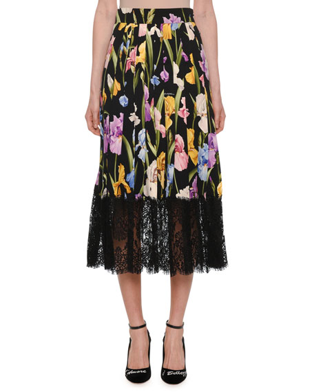 DOLCE & GABBANA Lace-Trimmed Pleated Floral-Print Silk-Blend Midi Skirt, Black Pattern