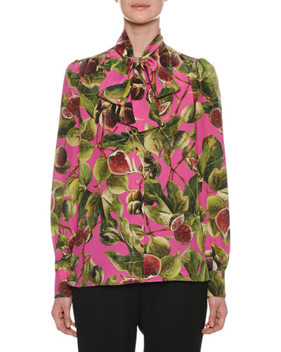 Long-Sleeve Crepe de Chine Fig-Print Blouse