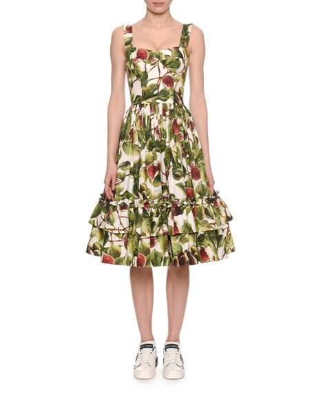 Sleeveless Fit-And-Flare Fig-Print Dress, White/Green