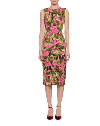 Sleeveless Fig-Print Charmeuse Midi Sheath Dress