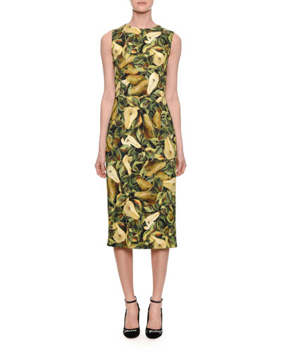 Sleeveless Cady Pear-Print Pencil Dress