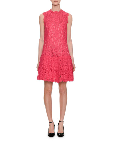 Sleeveless Lace Dress w/ Flared Skirt